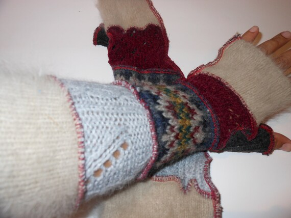 Extra Long Recycled Sweater Sleeves Fairy Gloves Long Arm Warmers Burgendy Angora  By SewWonderifical