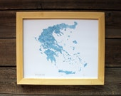 Greece 8x10 Print Mediterranean Blue watercolor