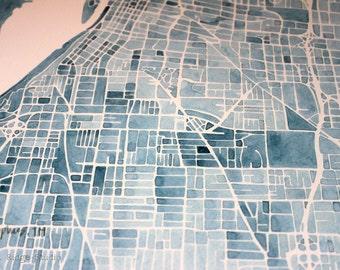 11x14 Print Memphis Watercolor City Map  Large print Memphis Tennessee Indigo Blueprint