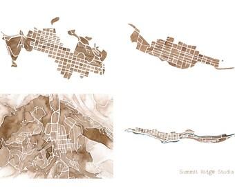 5x7 Map Print Colorado Collection Aspen, Telluride, Breckenridge, Idaho Springs