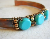 Upcycled Copper Cuff Bracelet, Mexican Turquoise Bracelet, Blue Green Stone Sterling Silver and Copper Cuff