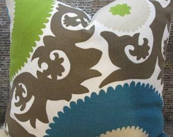 SALE Designer Pillow Cover - Fahri Suzani -18 x 18 - Outdoor  Woven Fahri Aquamarine