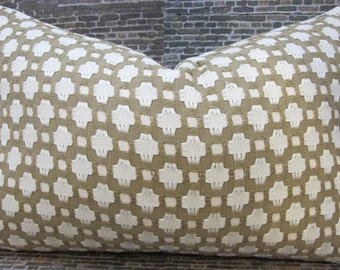 F. Schumacher Fabric Designer Pillow Cover 12 x 18 - Betwixt Biscuit and Ivory
