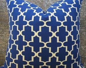 SALE Designer Pillow Cover -  Taza -  Blue - 10 x 20 - OutdoorSunbrella