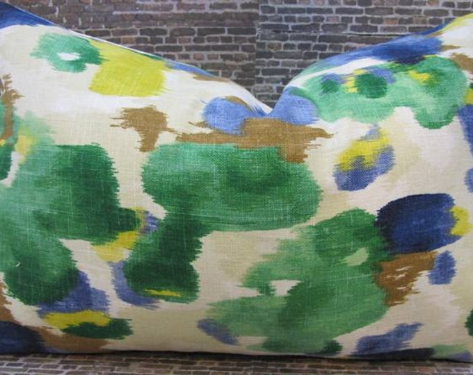 Designer Pillow Cover - Lumbar - Dwell Studio Landsmeer Ultramarine