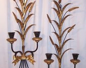 Beautiful Italian Florentine Wheat and Leaf Wall Sconces
