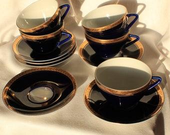 Vintage Set Lomonosov Tea cup & Saucer Porcelain Cobalt Blue and Gold