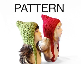 Whimsical Pixie Hat Pattern, Crochet Elf Hat Pattern, Gnome Hat Pattern PDF Download