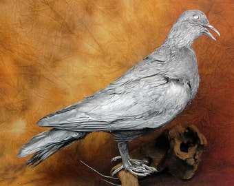 taxidermy of evil pigeon