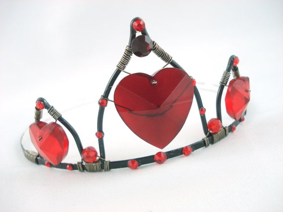 Queen of Hearts Tiara Red and Black Crown - Ready to Ship