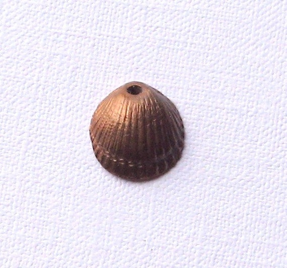 Copper cockle shell charm, handmade, jewelry making, findings