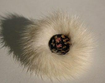 Vintage 1950s Mink Fur Brooch Needlepoint Winter White Bridal Fashions