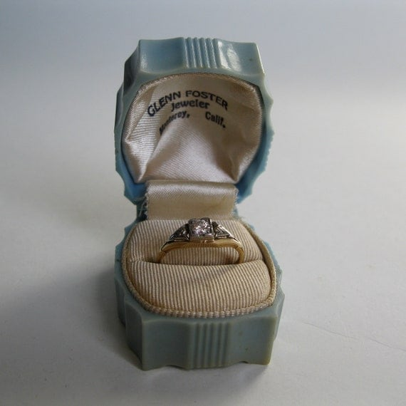 Vintage 1940s Blue Ring Box Wedding Engagement 1950s