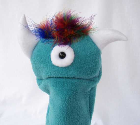 Blue Hand Puppet Plush Toy Baby One Eyed Monster