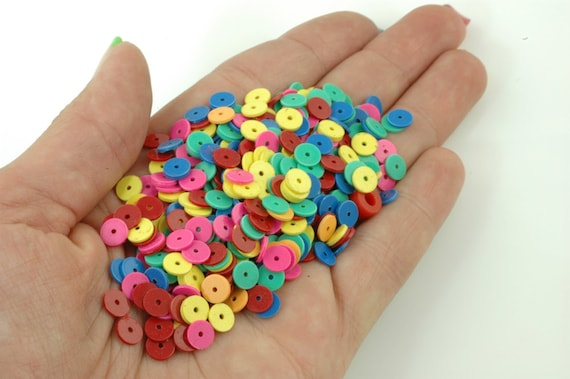 Bright African Vinyl Record Disc Beads / Loose Neon Rainbow Mixed Beads / 6x.5mm / Designer Spring Bright Tribal Jewelry Supplies
