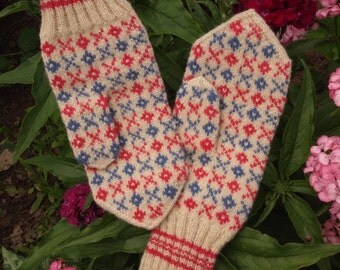 Finely Hand Knitted Estonian Mittens in Pink and Purple and White FREE SHIPPING warm and windproof