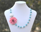 Large Coral Flower and White Rose and Turquoise Beaded Asymmetrical Statement Necklace - Bold Summer Fashion Chunky Statement Necklace