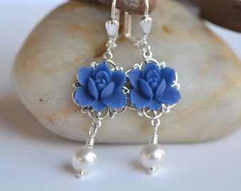 Navy Blue Lotus Flower and White Pearl Dangle Earrings. Navy Wedding Jewelry. Navy Bridal Earrings. Pearl Earrings.