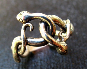 Silver Two Headed Snake Ring Eco-Friendly Halloween Jewelry