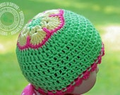African Flower Cap, Baby Hat, Crochet Baby Hat, Baby Girl, African Flower Hat, Limelight, Green, Scalloped Trim, READY TO SHIP