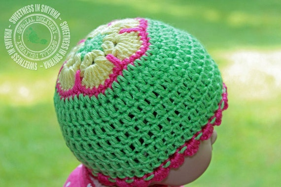 Items similar to African Flower Cap, Baby Hat, Crochet ...