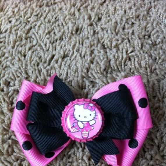 Hello kitty ballerina bottlecap bow pink and blacl hello kitty bow