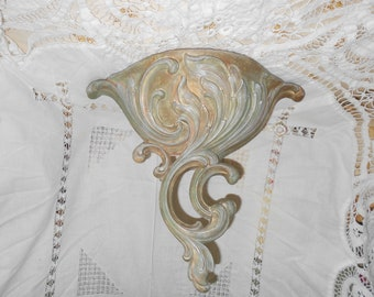 Hollywood regency Vintage wall pocket  with scrolls and leaves in a sage rose with gold