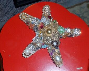 Hollywood Regency Nine inch bejeweled with vintage jewels starfish