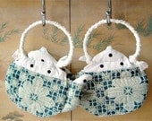 TEXTILE TEAPOTS, Home Ornaments, White Teal Blue, Eco Firendly Decor, Gift Idea