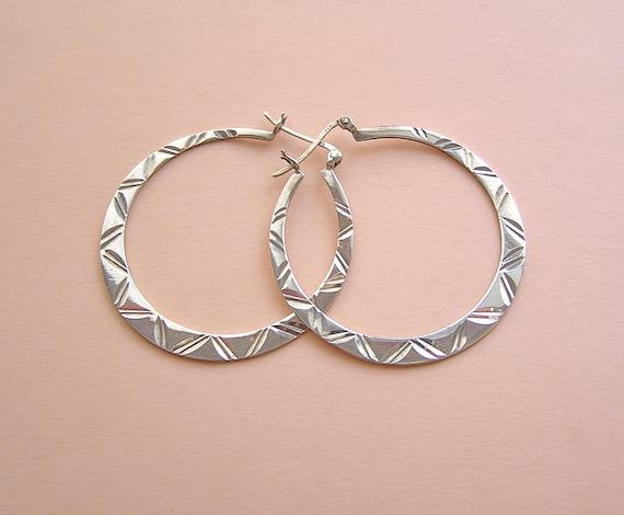 Vintage Sterling Engraved Large Hoop Earrings