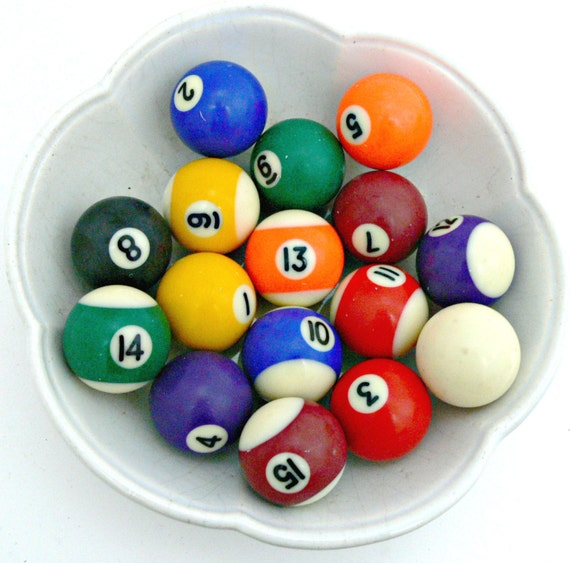 vintage mini pool balls complete set of 16 billiard balls. Black Bedroom Furniture Sets. Home Design Ideas