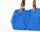 Blue Crocheted Handbag -handbag Celebrity Style With Genuine Leather Straps / Handles/crochet bag / gray bag