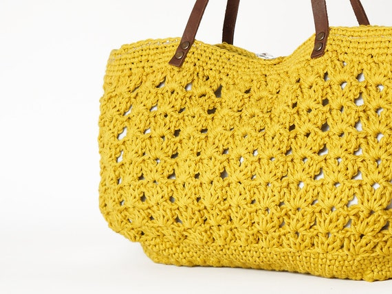 yellow summer bag- Handbag Celebrity Style With Genuine Leather Straps / Handles shoulder bag-crochet bag-hand made