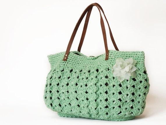 Green summer Handbag - Shoulder bag with Genuine Leather Straps