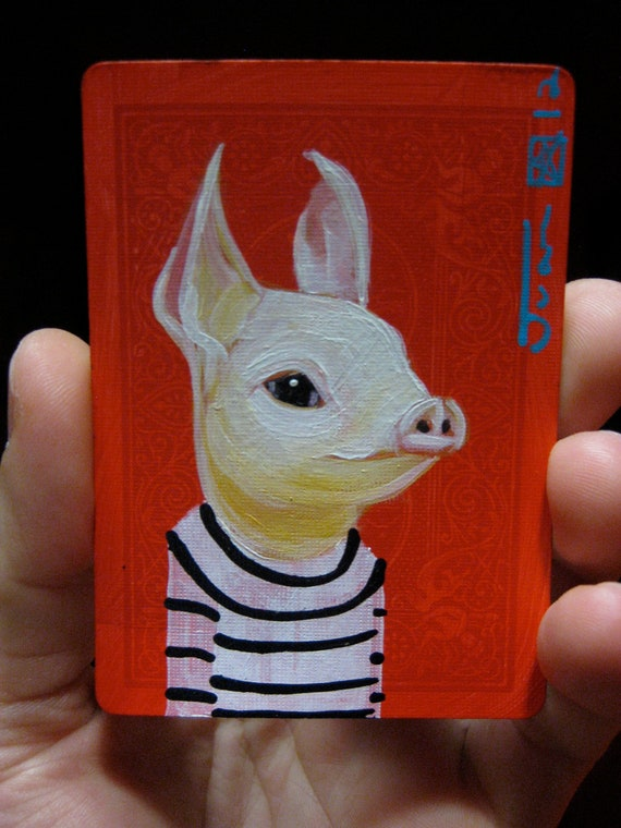 Pig portrait N35 on a playing cards. Original acrylic painting. 2012