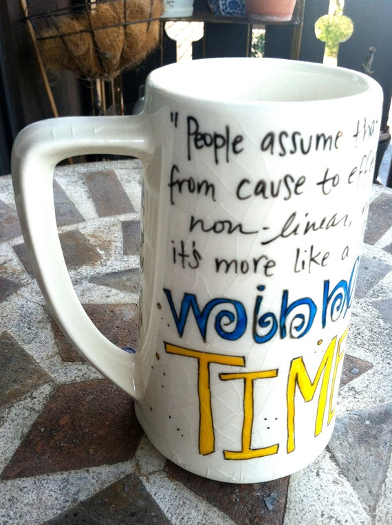 """Doctor Who """"Wibbly-wobbly, timey-wimey"""" Hand-Painted Quote Mug - Tenth Doctor - tall white tankard mug with TARDIS"""