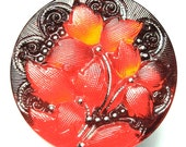 """27mm or 1"""" Red and Black Czech Glass Button-Iridescent-Ivy Flower-Silver Accents"""