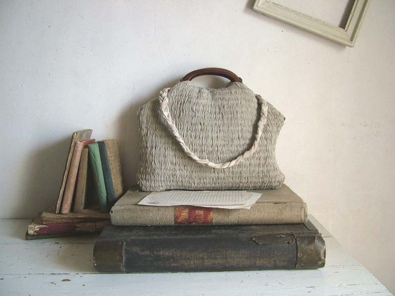 French Market Basket in Handweave and Plaited Leather Shoulder Strap. . Ready to Ship
