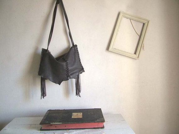 Charcoal Grey Slouchy Satchel with Embroidered Stitch Detailing - Ready to Ship.  Limited Edition