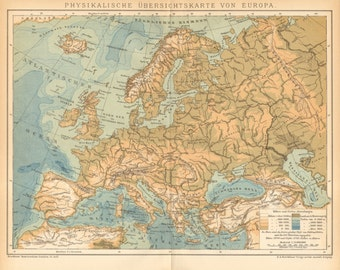 1895 Original Antique Relief Map of Europe
