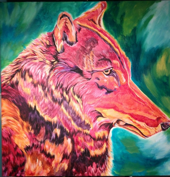 Colorful Wolf Painting Lone Wolf Colorful Wolf Painting