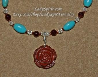 Mahogany Obsidian Rose and Turquoise  Bracelet