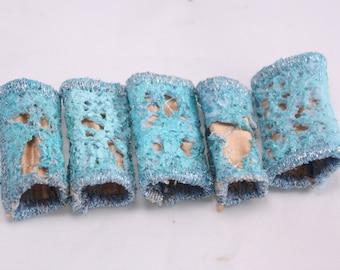 Fabric fiber bead Dreadlock bead pastel aqua peach fibre art beads embroidered unique texture macrame bead