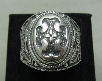 R001152 Sterling Silver Men's Ring Solid 925 Cross