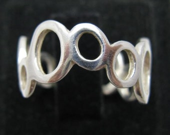 R001073 STERLING SILVER Ring Solid 925 Circles Band