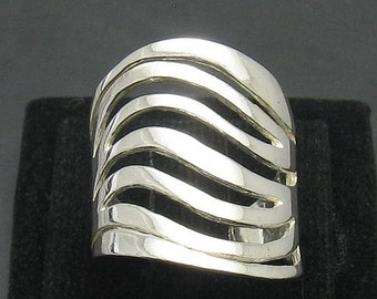 R000915 STERLING SILVER Ring Solid 925 Wave