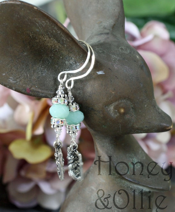 Amazonite and sterling dangle lotus earrings with Swarovski crystals