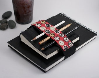 Adjustable Velcro Bandolier // Red Type // (a better pencil case, journal pen holder, book strap, pen loop, pencil roll, pen bandolier)