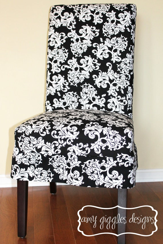Items Similar To Black And White Baroque Parsons Chair