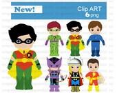 Superheroes 2 clip art ETSY (set of 7)
